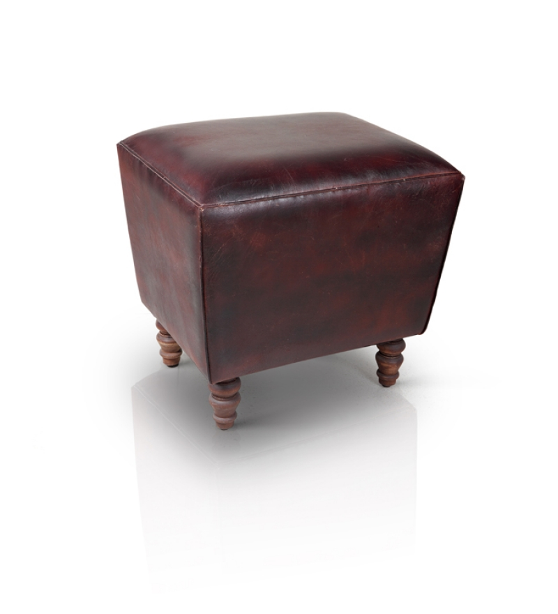 Leather Puff Stool