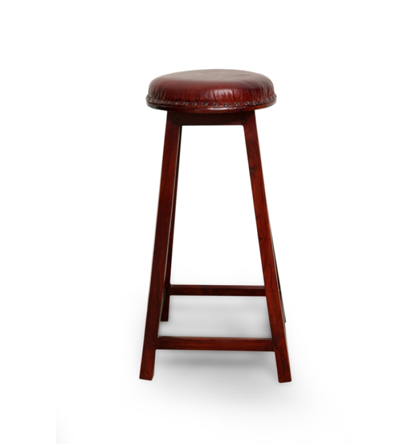Saffron Stool with Leather Seat