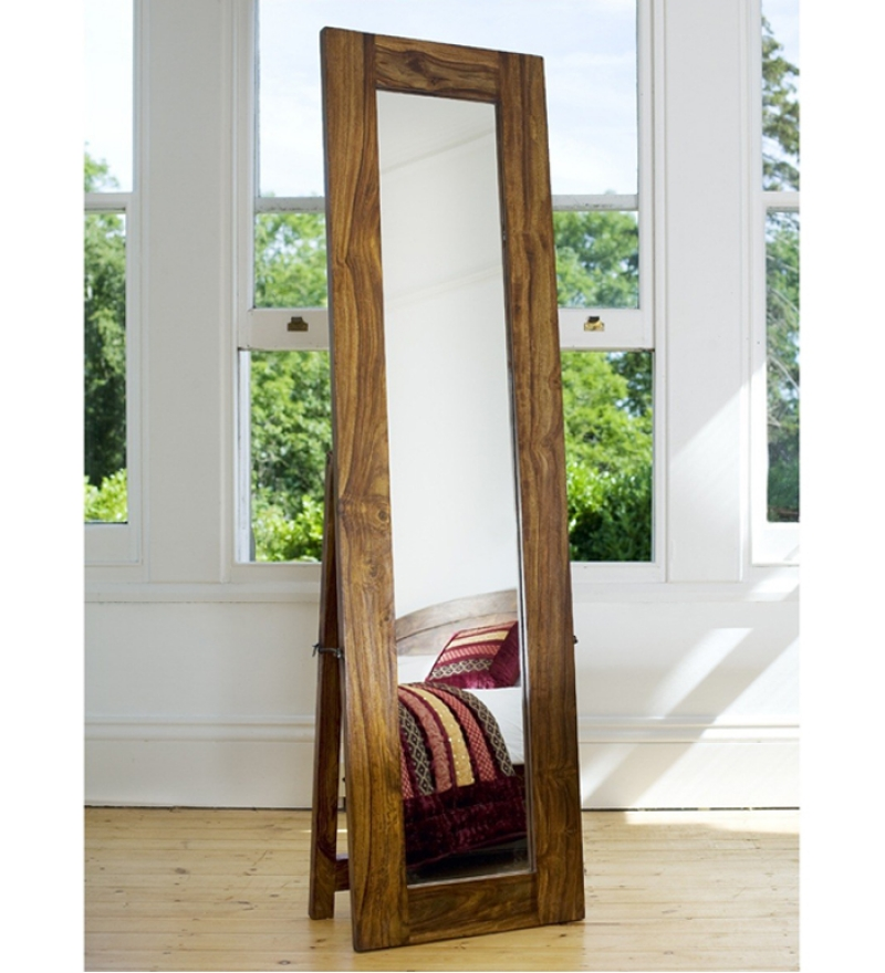 Sheesham Wood Honey Light Cheval Mirror