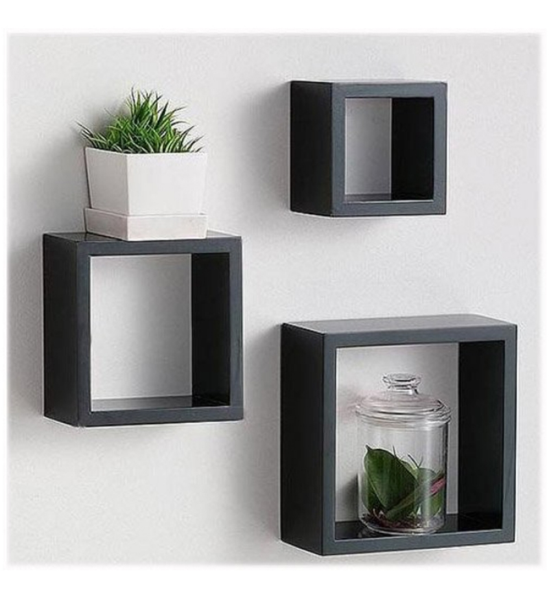 Mango Wood Set of Three Wall Shelf