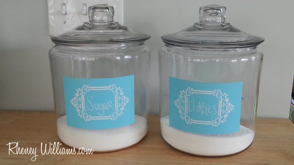 Pops of Coordinated Color with Painted Glass Containers